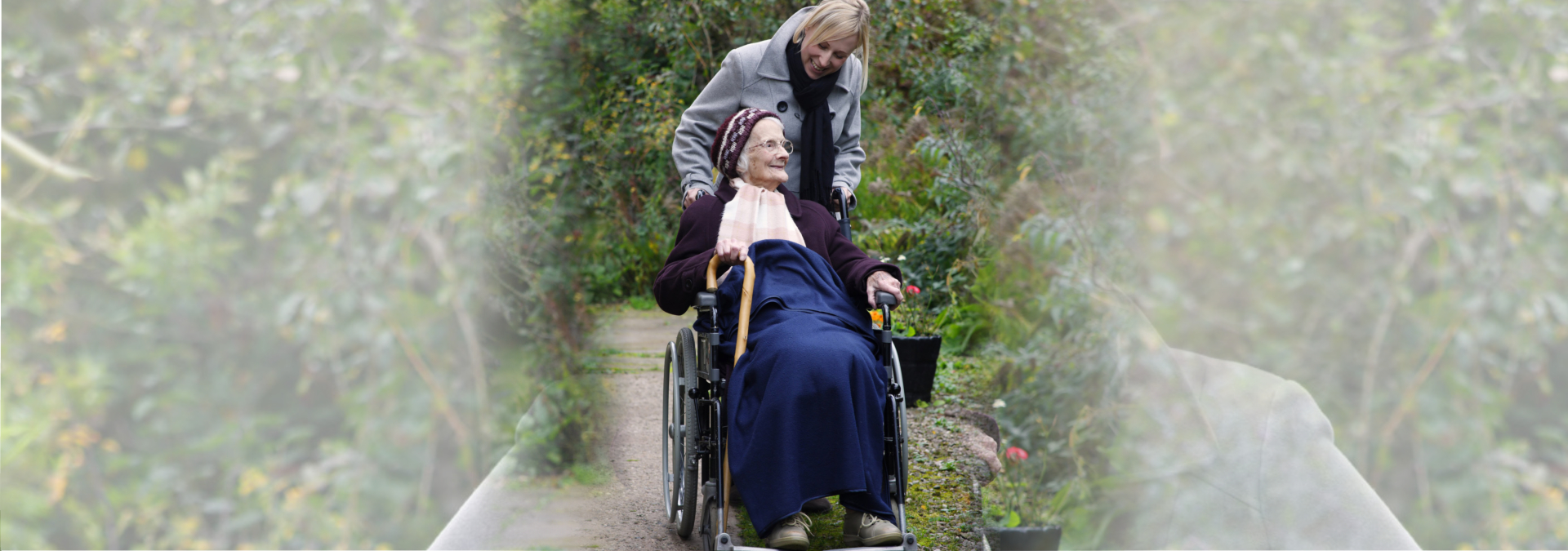 Elder woman with caregiver